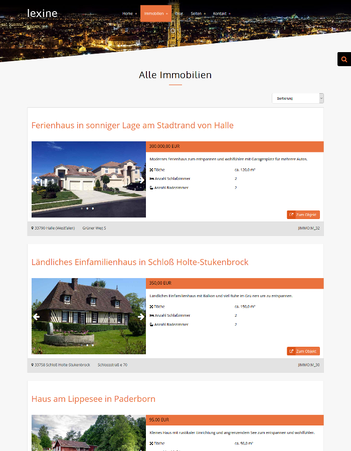 Lexine Demo Immobilien Homepage