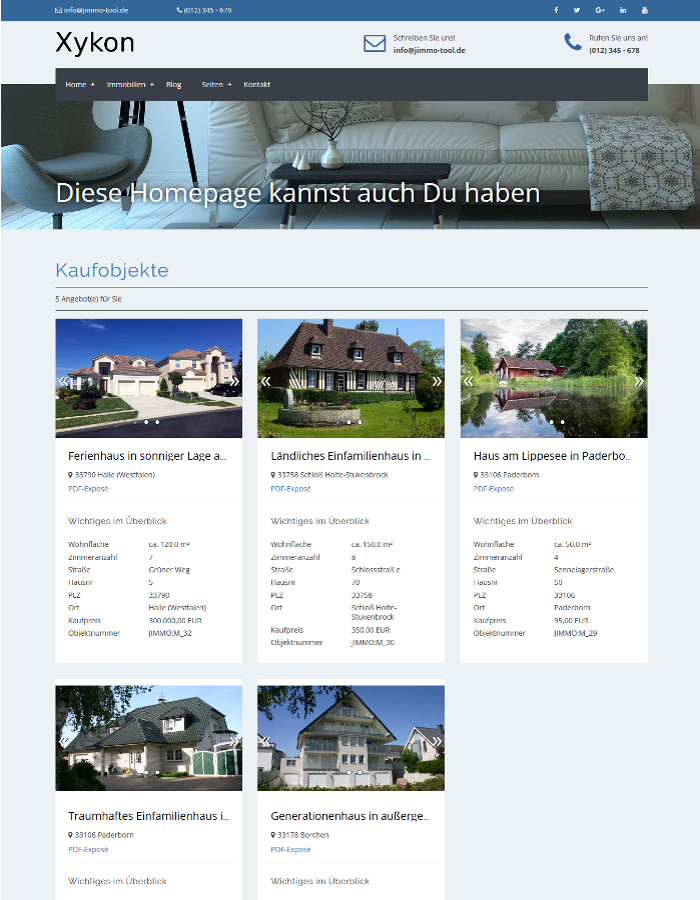 Xykon Demo Immobilien Homepage